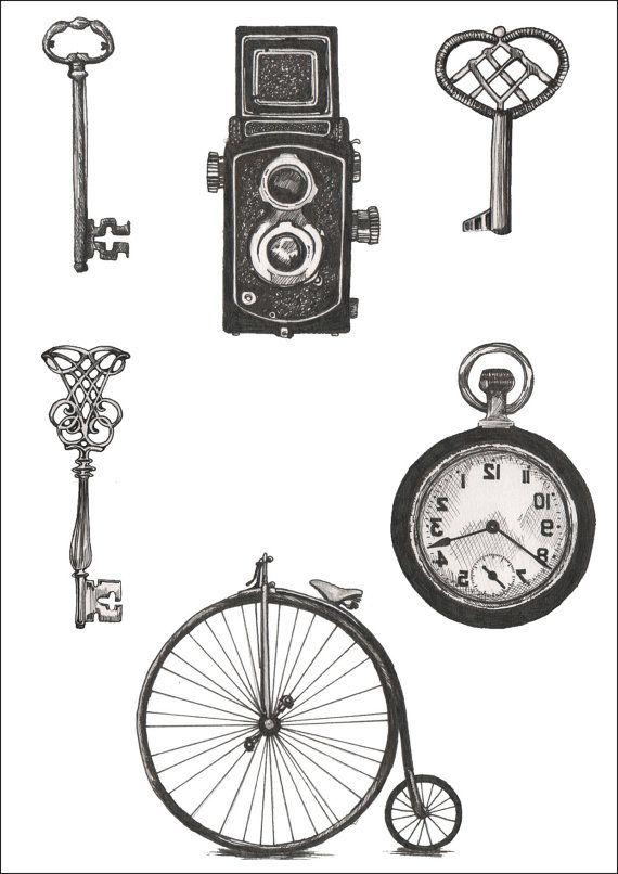Vintage Objects Temporary Tattoos - Illustration - Key, Antique, Pocket Watch, Pennyfarthing, Brownie Camera, Vintage Bike