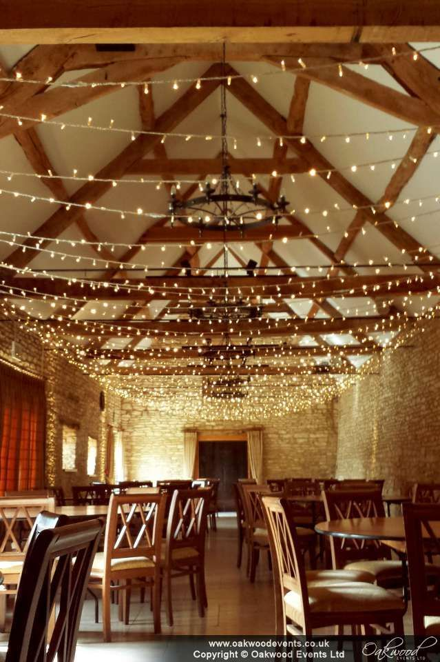 wedding reception at home ideas uk%0A A widthways fairy light canopy at the lovely Wenman u    s Barn at Caswell   beautiful wedding lighting