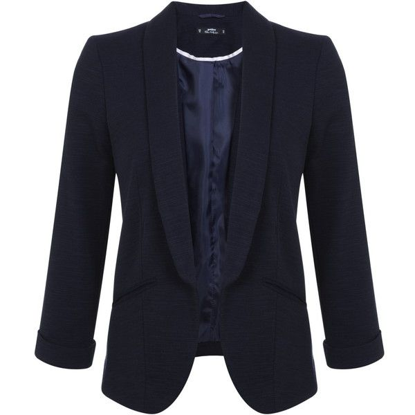 Miss Selfridge Petites Navy Blazer Jacket ($68) ❤ liked on Polyvore featuring outerwear, jackets, blazers, navy, petite, petite blazers, navy blue jacket, navy blue blazer, miss selfridge and navy jacket