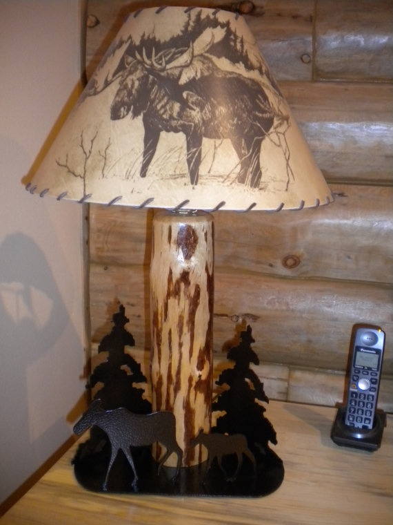 moose  rustic lamp shade new by customlogfurniture on Etsy, $49.00