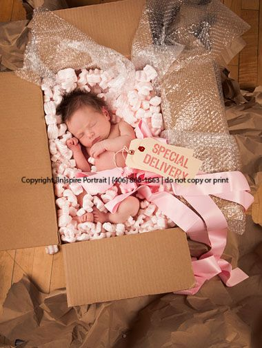 Special Delivery baby such a cute idea!