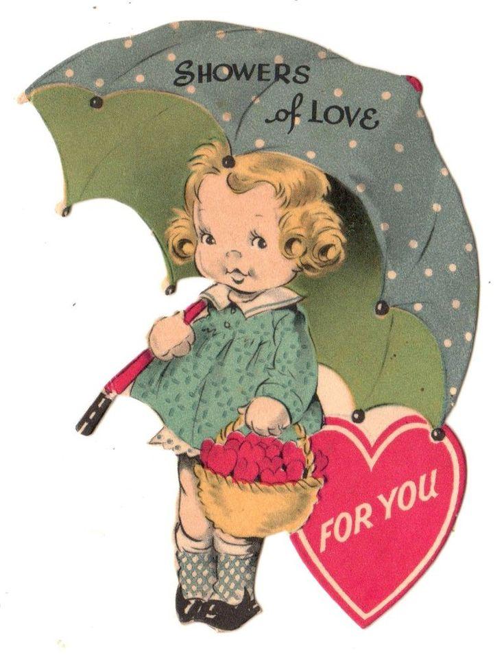 JG SCOTT VALENTINE - CUTE GIRL WITH UMBRELLA - SHOWERS OF LOVE 4U / VINTAGE CARD #Gibson