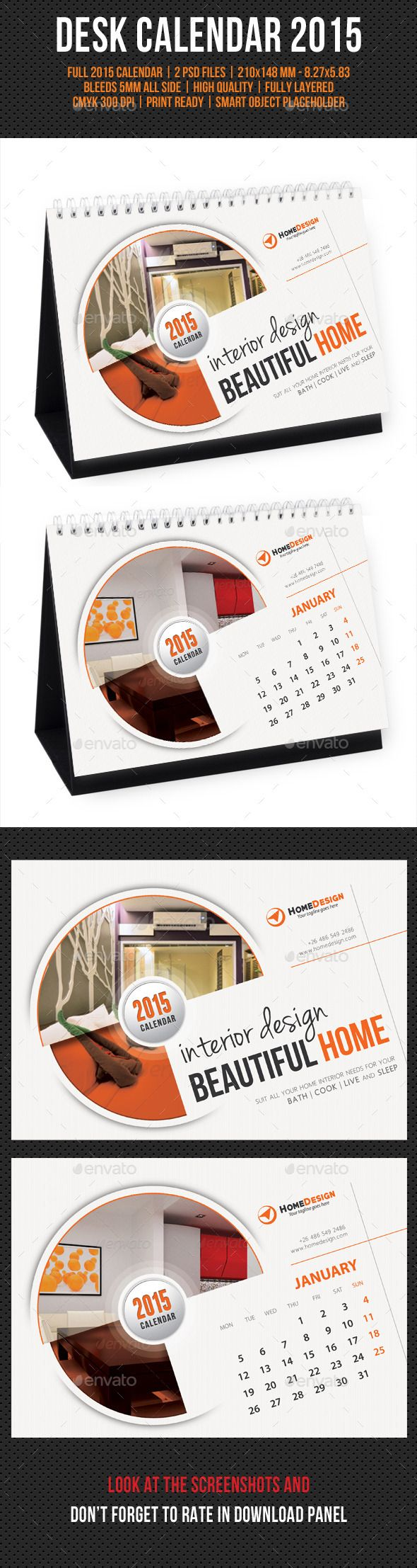 Creative Desk Calendar 2015 Template | #deskcalendar2015 #calendartemplate2015 #calendar2015 | Buy and Download: http://graphicriver.net/item/creative-desk-calendar-2015-v06/9635075?ref=ksioks