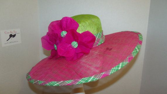 Fuchsia and Lime Green Hat with Plaid Trim and by OvertheTopHats