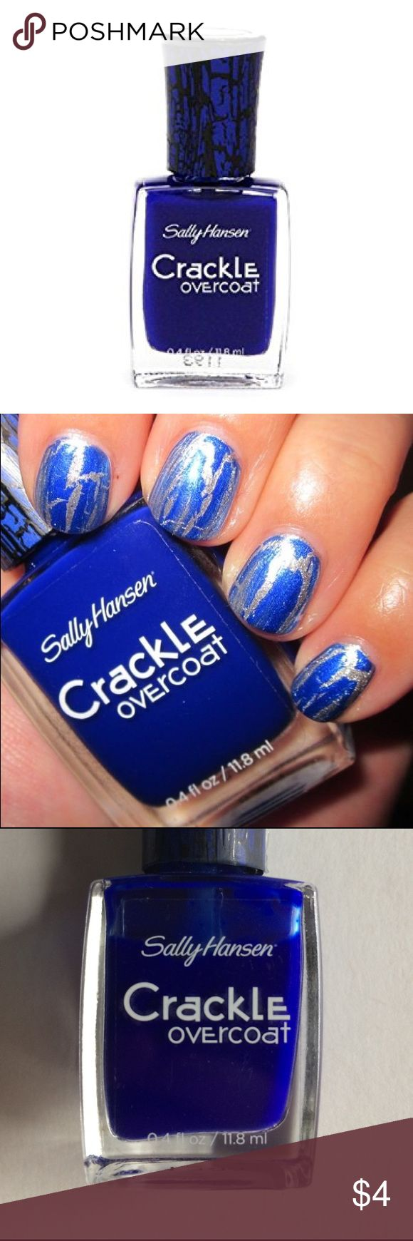 Sally Hansen Distressed Denim Crackle Overcoat Sally Hansen Distressed Denim Blue Crackle Overcoat. Used once, almost completely full (see 3rd photo). For modern and sophisticated looking nails. Creates a unique crackle effect. Wet to set in 60 seconds.   I ship daily and am open to trades if you have one of my ISOs (listed in my closet). Will consider all offers! 20% off all bundles of 2+ items, always! Sally Hansen Other