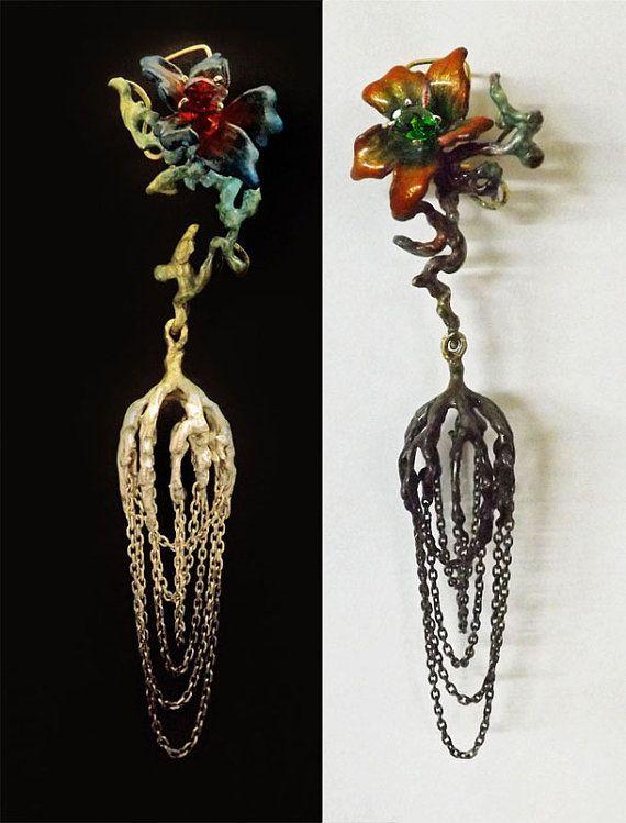 Mismatched Earrings Asymmetrical Chandelier by BonTonJoyaux