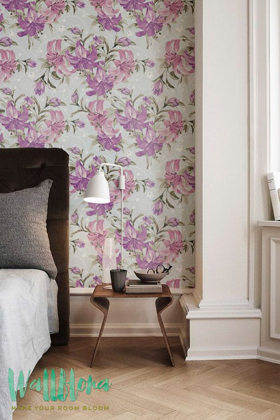 Puprle Lily Pattern Wallpaper Removable by WallfloraShop on Etsy