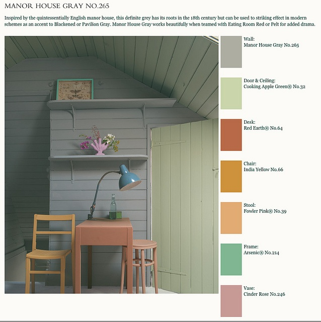 Manor House Gray covers the wall, with Cooking Apple Green on the door, Red Earth on the desk, India Yellow on the chair, Fowler Pink on the stool, Arsenic on the picture frame, and Cinder Rose on the vase. farrowandball1 by sdean641, via Flickr