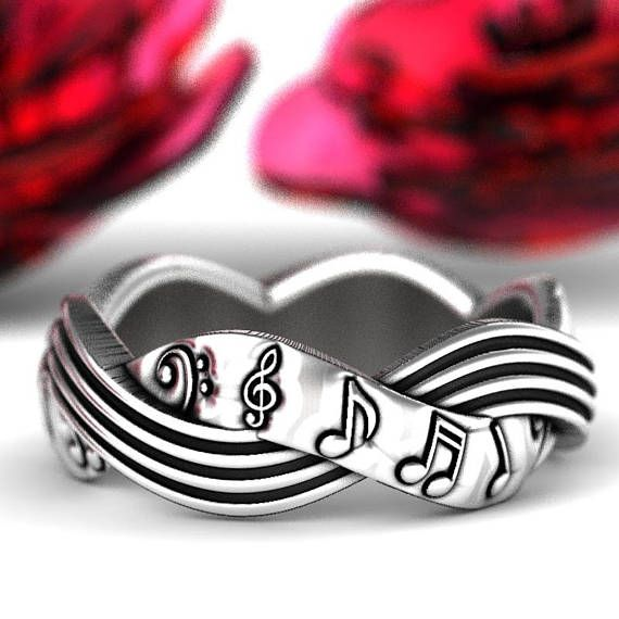 Musical Celtic Wedding Ring Woven Music Note Sterling Silver Etsy Celtic Wedding Rings Music Note Ring Custom Jewelry Design