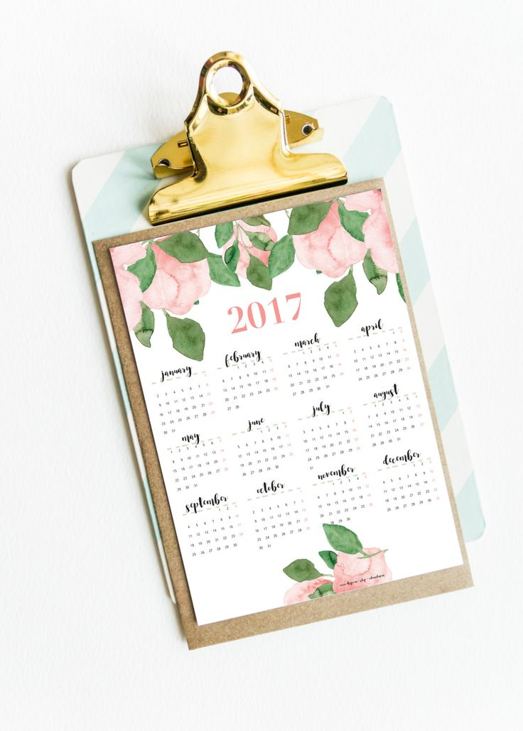 Girlish, wall calendar for 2017 with hand painted flowers theme. Printable…