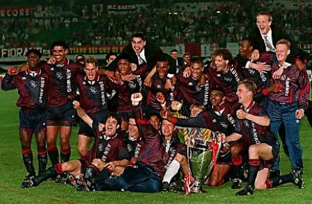 May 1995. An outrageously gifted young Ajax side (plus Danny Blind and Frank Rijkaard) beats the champions Milan to the European Cup at the end of an unbeaten season.