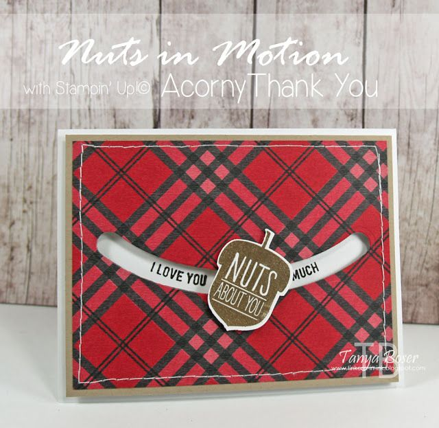 Tinkerin In Ink with Tanya, Tanya Boser Stampin' Up! Acorny Thank You stamp set with Acorn Builder punch, Warmth & Cheer DSP stack, and Sliding Star framelits Stamp Review Crew