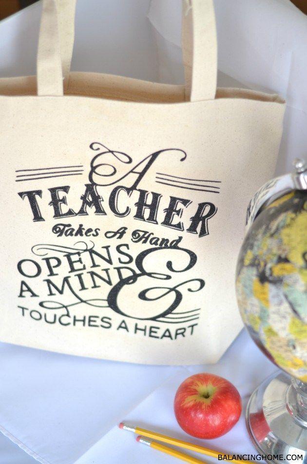 Teacher Appreciation Tote Gift Idea!! - 25+ teacher appreciation week ideas - NoBiggie.net