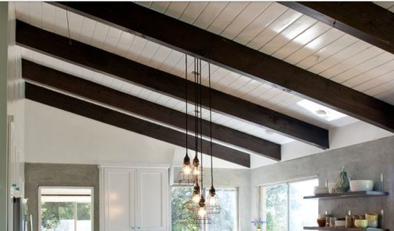 Ceilings Painted White With Dark Walnut Stained Exposed
