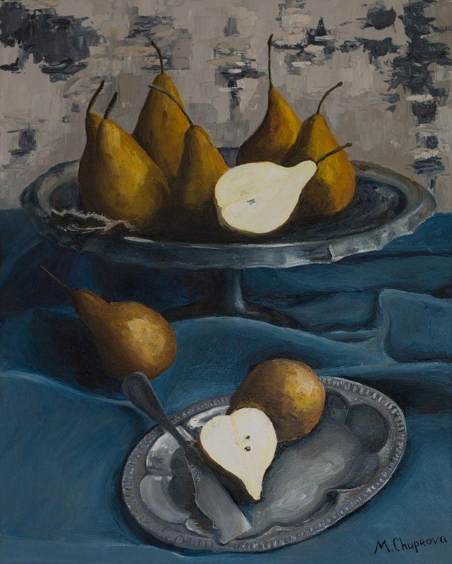 "pears-on-the-blue-table-cloth-oil-painting-still-life Натюрморт. Картина маслом. ""Yellow pears on a blue cloth"" (40*50 oil/canvas, 2013) ""Желтые груши на синей скатерти"" 40*50, холст/масло, 2013г  by Chuprova Margarita"