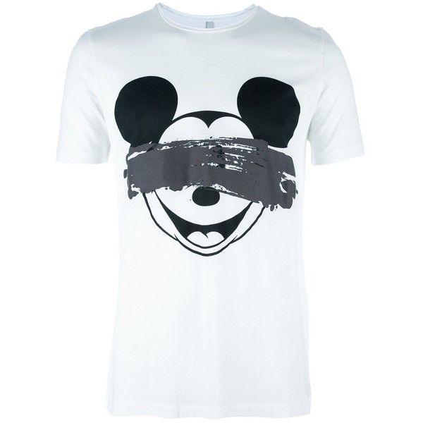 NEIL BARRETT Micky Mouse T-shirt ($105) ❤ liked on Polyvore featuring men's fashion, men's clothing, men's shirts, men's t-shirts, mens mickey mouse t shirt, mens short sleeve cotton shirts, mens short sleeve t shirts, mens white t shirts and mens mickey mouse shirt