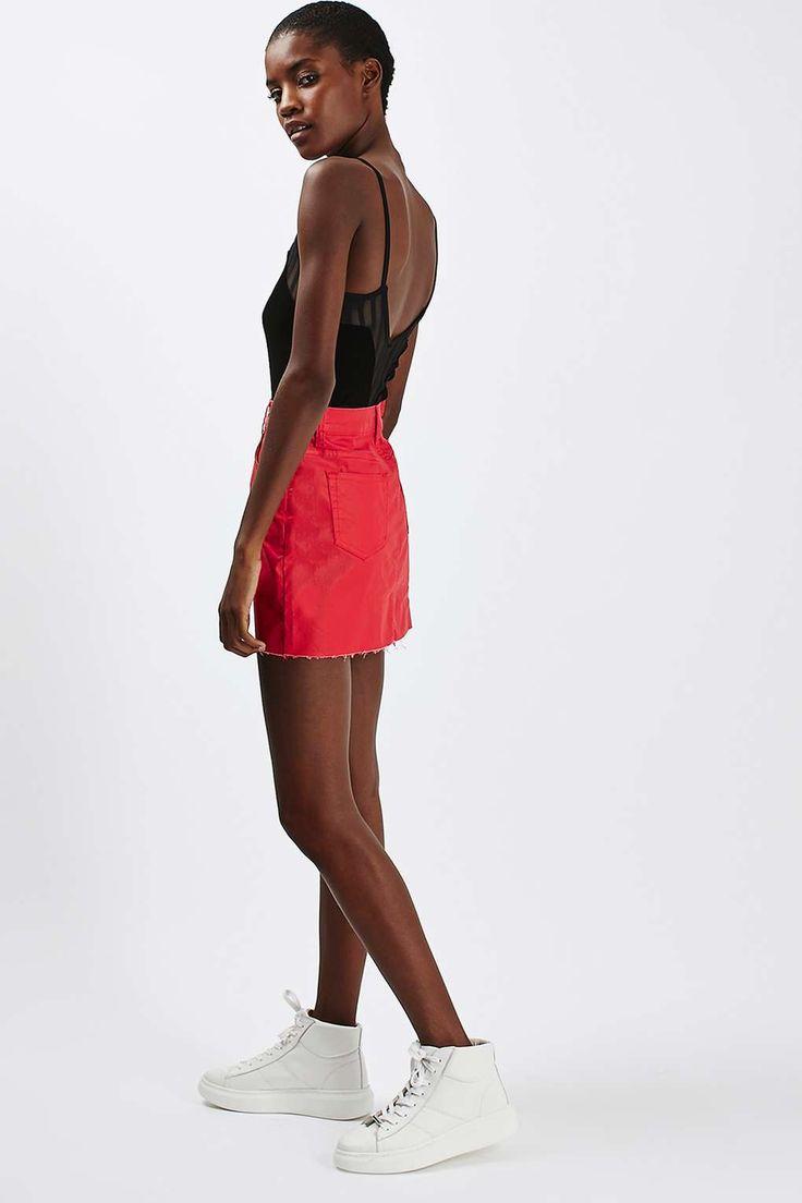 MOTO Red Denim Coated Skirt
