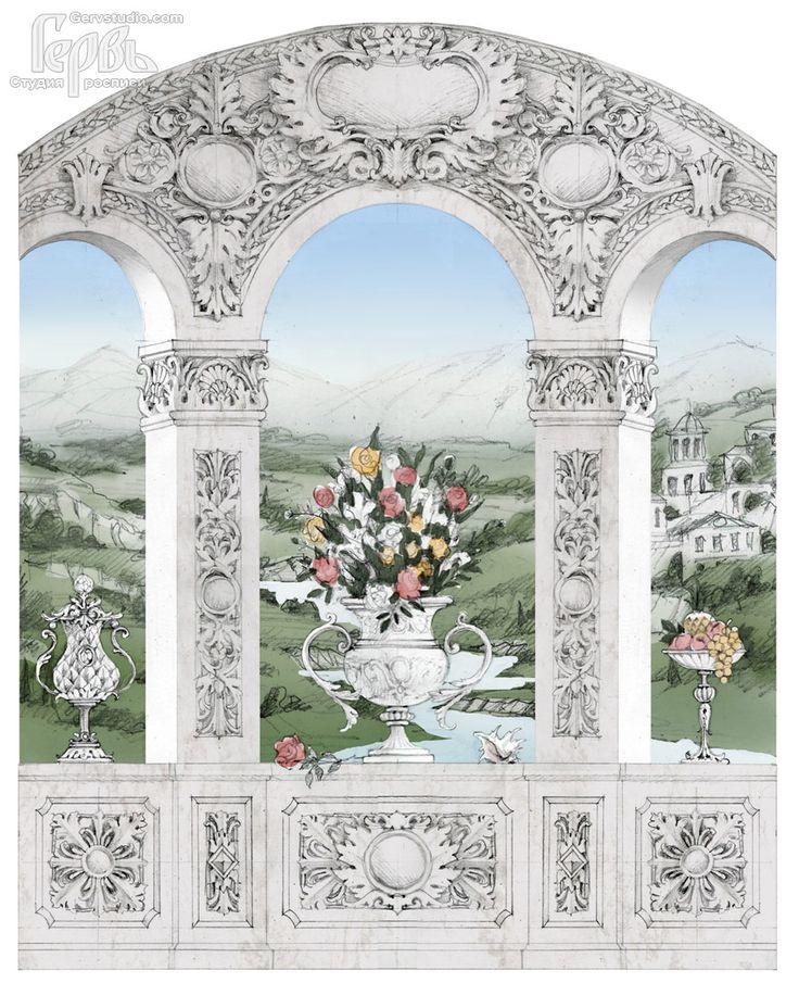 Эскиз к росписи стены | Имитация лепнины в стиле барокко, пейзаж, цветы #роспись #росписьстен #эскиз #художественнаяросписьстен #росписьинтерьера #росписьстенкиев #росписьстенвквартире #дизайн #kiev #paintingwalls #painting #paint #homedecor #art #барокко #interiordesign #handpainted #baroque #baroquestyle #роскошно #гервь #gervstudio