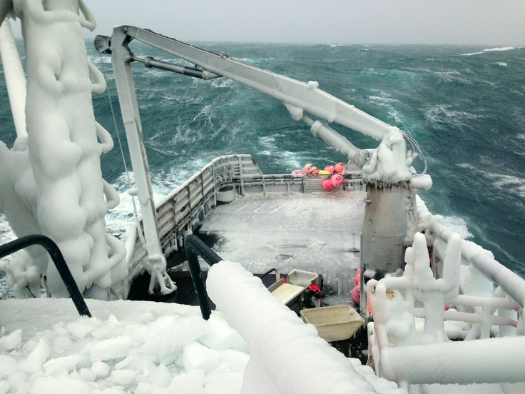 Opilio Crab season in the Bering Sea- icy stern on the Early Dawn