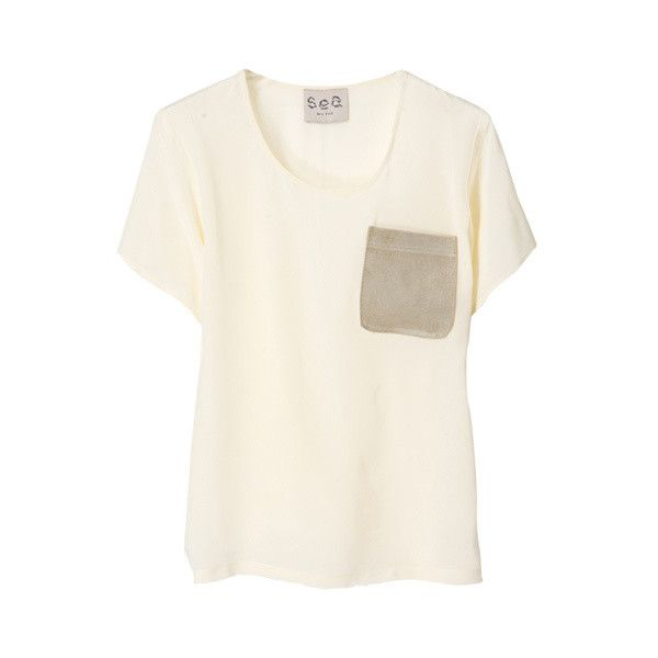 WASHED SILK T-SHIRT ($270) ❤ liked on Polyvore featuring tops, t-shirts, shirts, tees, women, sea, new york, white t shirt, t shirts, white tee and white silk top