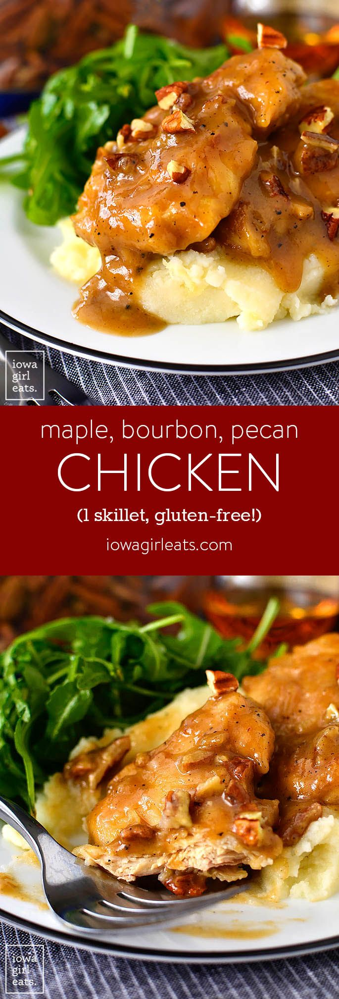 Maple Bourbon Pecan Chicken is a Heavenly, 1-skillet dinner recipe! Gluten-free, ready in just 20 minutes, and made with pantry staples. | iowagirleats.com #thinkfisher