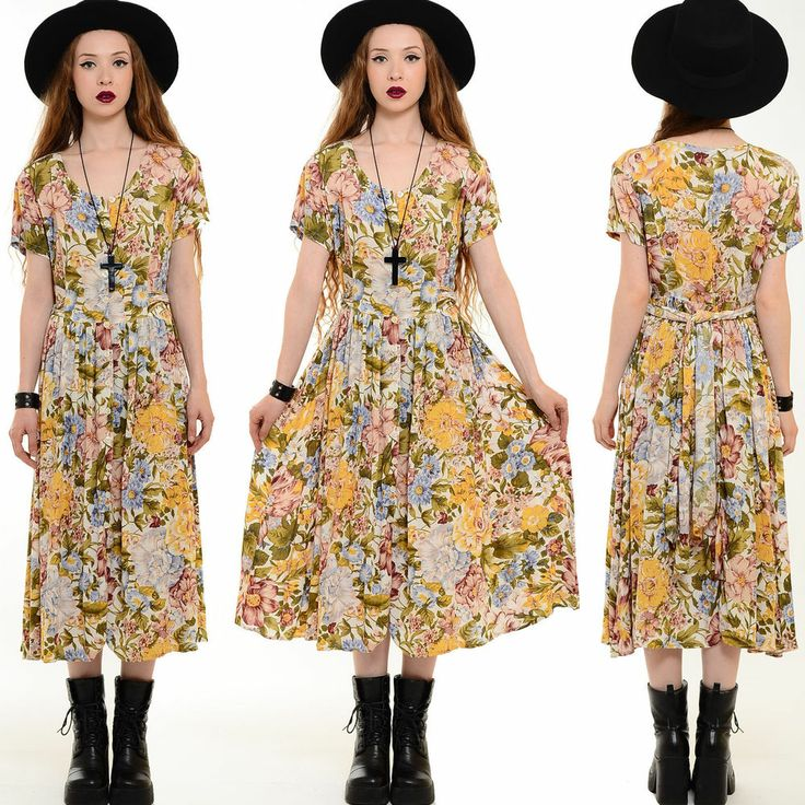 Vtg 80s 90s Floral ROSE Grunge Festival FLOWY Boho Gypsy Draped Midi Maxi Dress #Dresses