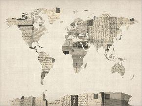 Carte du monde de vieilles cartes postales Art Print    Une carte du monde fait à partir dun collage de cartes postales anciennes, dans des langues