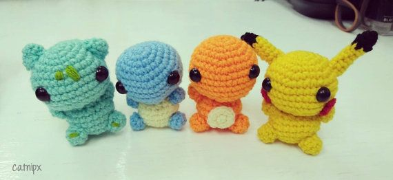 Welcome to my shop~  This is a set of handmade baby Kanto starters (including Pikachu). ❤ They are ~6.5cm when standing ❤ Made from acrylic yarn ❤ If you only want a specific Pokemon, you can also check out each baby Pokemon individually too~ (you can find them individually listed in my shop)