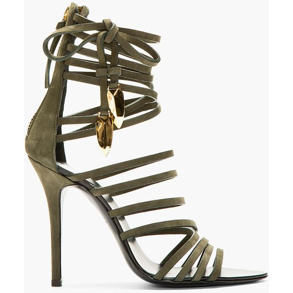 Giuseppe Zanotti Olive Nubuck Gladiator Heels ($1,195) ❤ liked on Polyvore featuring shoes, sandals, heels, scarpe, strappy sandals, strap high heel sandals, high-heel gladiator sandals, gladiator shoes and strappy high heel sandals