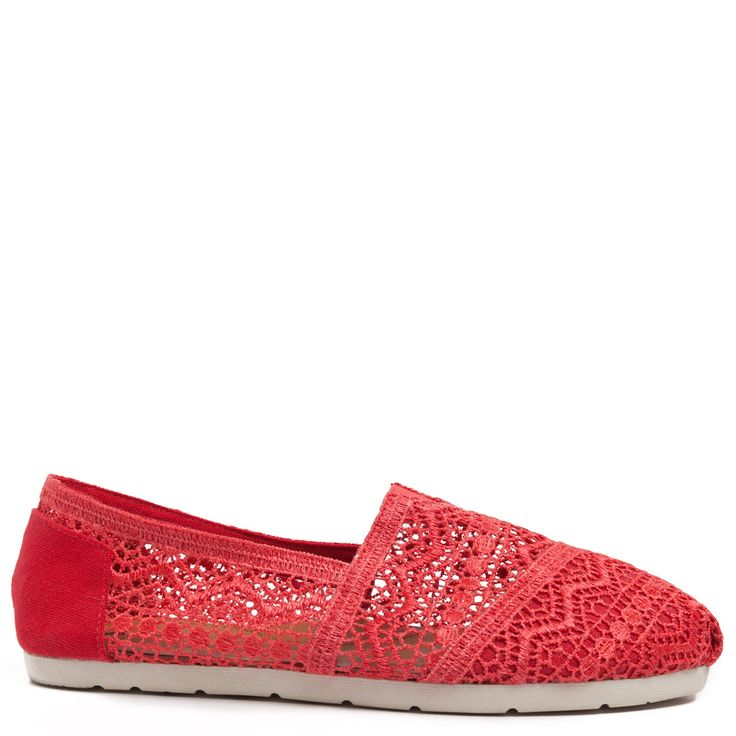 Coral espadrille with lace