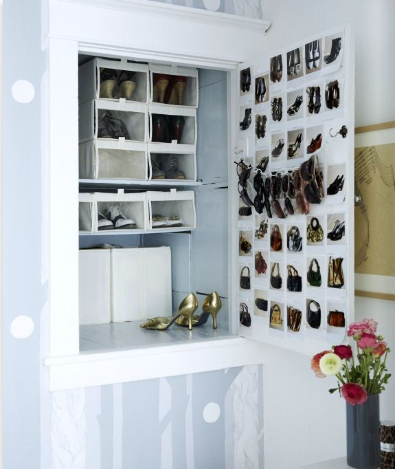 Hang glasses and sunglasses on a chain suspended between two hooks. | 52 Meticulous Organizing Tips To Rein In The Chaos