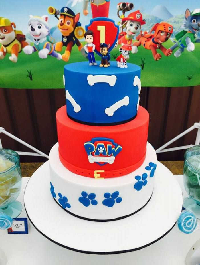 Paw Patrol First Birthday ♥ Paw Patrol themed party backdrop ♥ Paw Patrol themed cookies ♥ Paw Patrol cupcakes ♥ Paw Patrol plush characters ♥ Paw Patrol themed first birthday cake and more! ♥