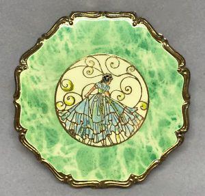 Art Deco Powder Compact Crinoline Lady Repousse Brass Enamel Germany Puff Sifter | eBay