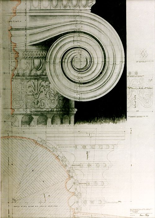 Ionic Column Drawings by Quinlan & Francis Terry LLP Architects