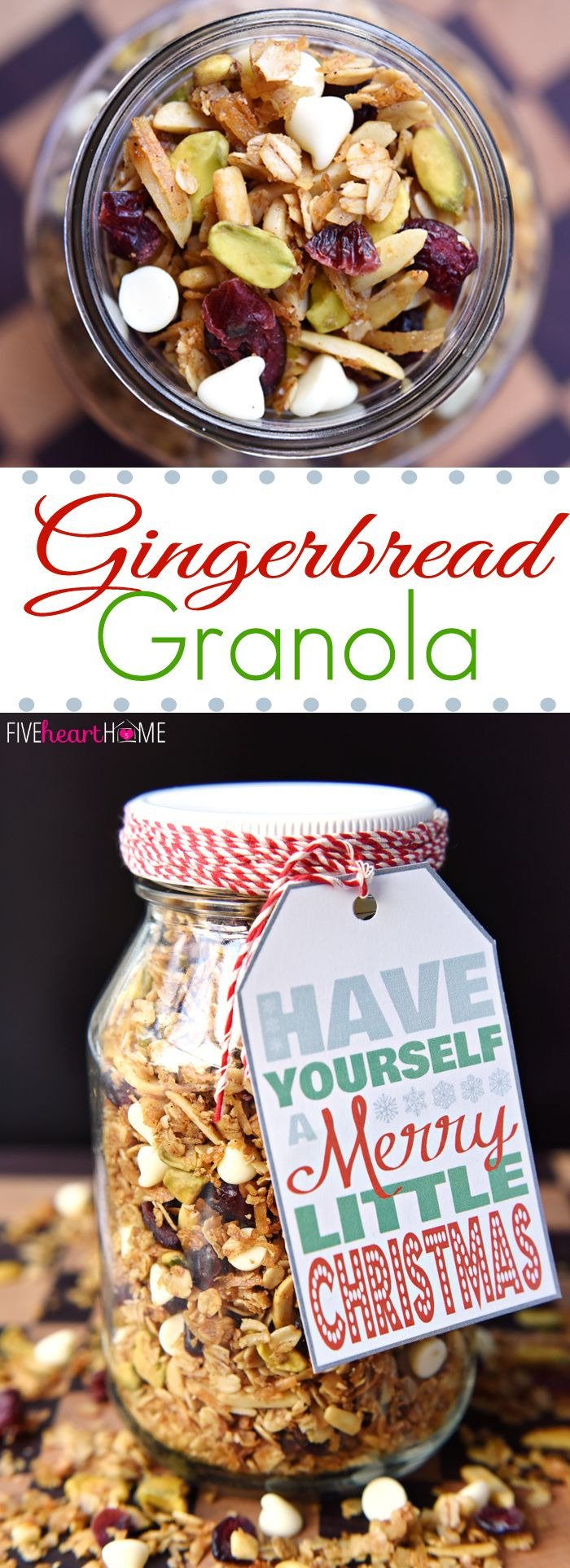 Gingerbread Granola with Cranberries, Pistachios, and White Chocolate Chips ~ warm spices and Christmas colors make this a perfect holiday breakfast or homemade food gift! | FiveHeartHome.com