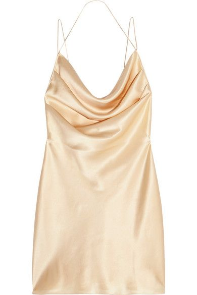 Saint Laurent, Champagne silk-satin Slips on 100% silk Dry clean Made in France, $3850