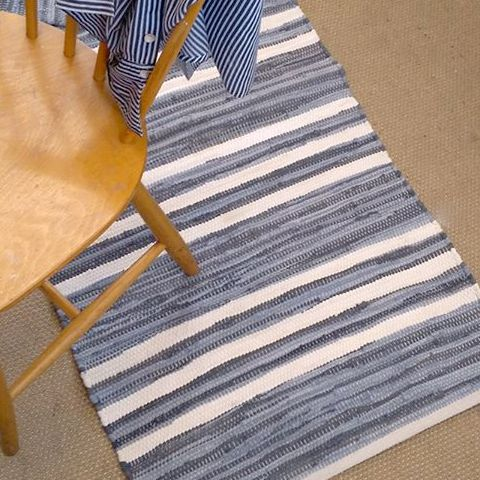 Our Saga striped grey and white rug in situe in the Skandihome Studio!