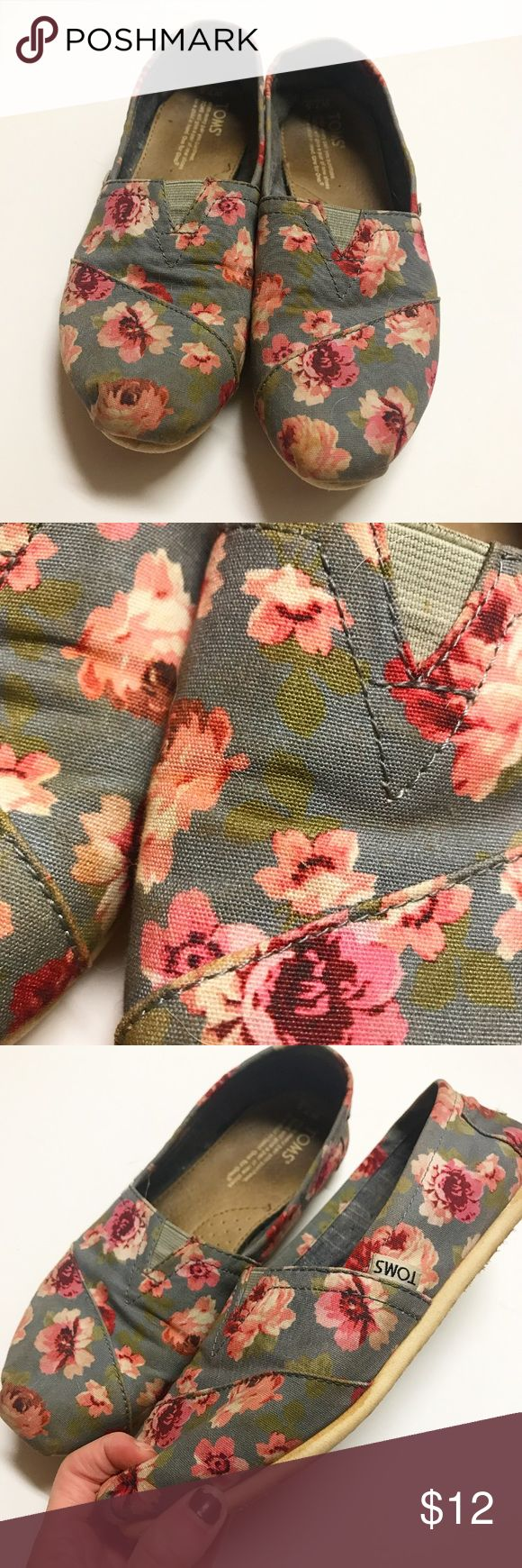Floral Toms Used, no holes or tears Toms Shoes