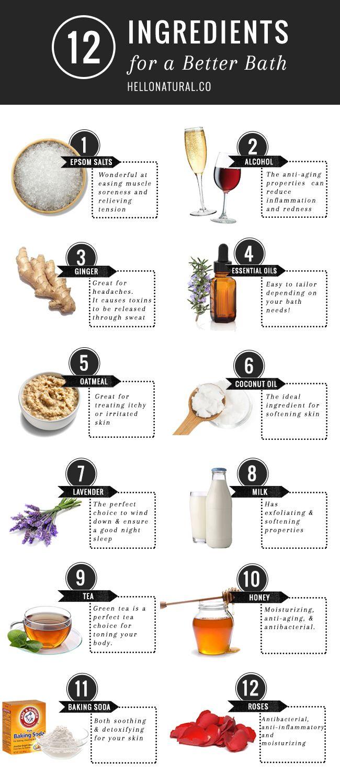 12 DIY Bath Ingredients for Soft Skin, Detox   More | http://hellonatural.co/12-diy-bath-ingredients-for-soft-skin-detox-more/