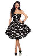 Hoge kwaliteit bandeau jurk in rockabilly stijl. Voorzien van rits aan de zijkant. De sjerp wordt meegeleverd.
