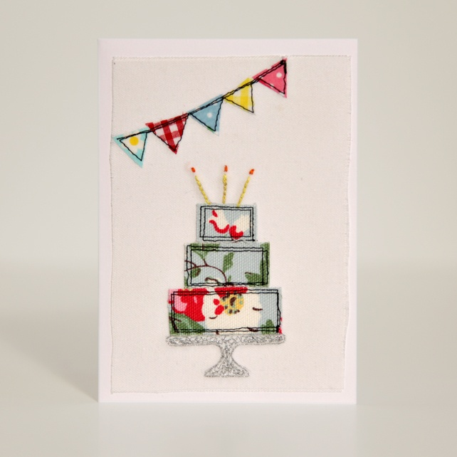 Handmade Fabric Birthday Cake Card