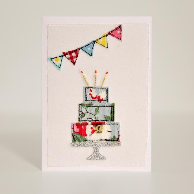 Handmade Fabric  Birthday Cake Card
