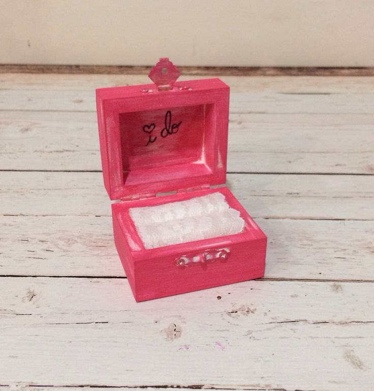 Vintage chic I DO ring bearer box - #9 Peony Pink - The Wedding Faire