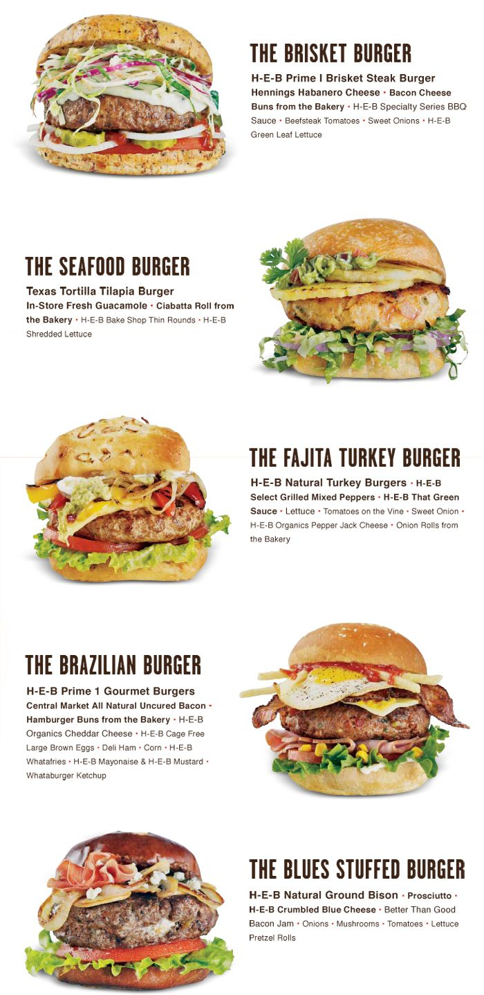 Burger ideas from HEB:  Brisket Burger, Texas Tortilla Tilapia Burger, Fajita Turkey Burger, Brazillian Burger, Blues Stuffed Burger