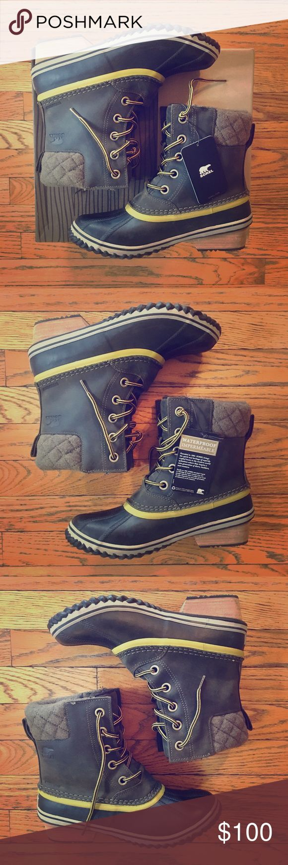 Women's Slimpack II Lace Duck Boot These Sorel duck boots make the ultimate statement on those dreary winter days. NEVER BEEN WORN with box and tag still attached. Size 9.5. Peatmoss, bog color. Sorel Shoes Winter & Rain Boots