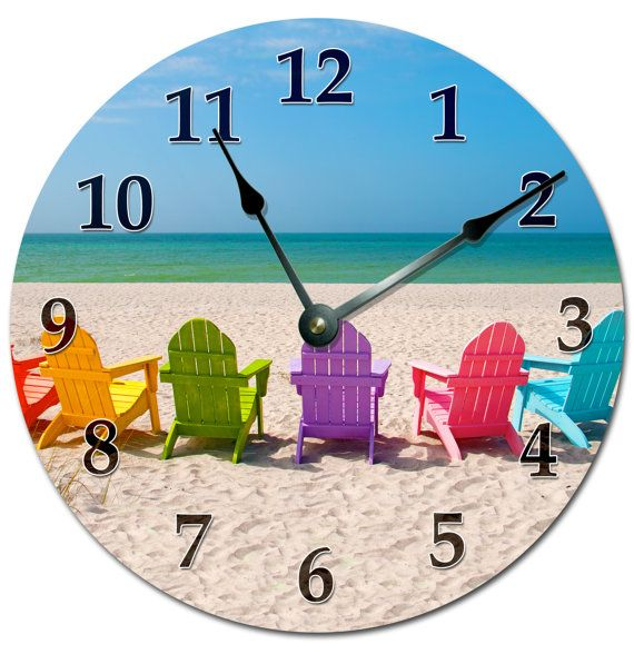 """COLORED BEACH CHAIRS Clock Extra Large 15.5"""" to 16"""" Wall Clock - 2131-16"""