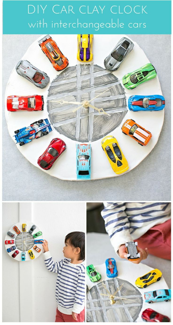 Make an easy car clock out of clay. Not only is it a fun way to teach time, the cars are detachable so you can switch them out to play!