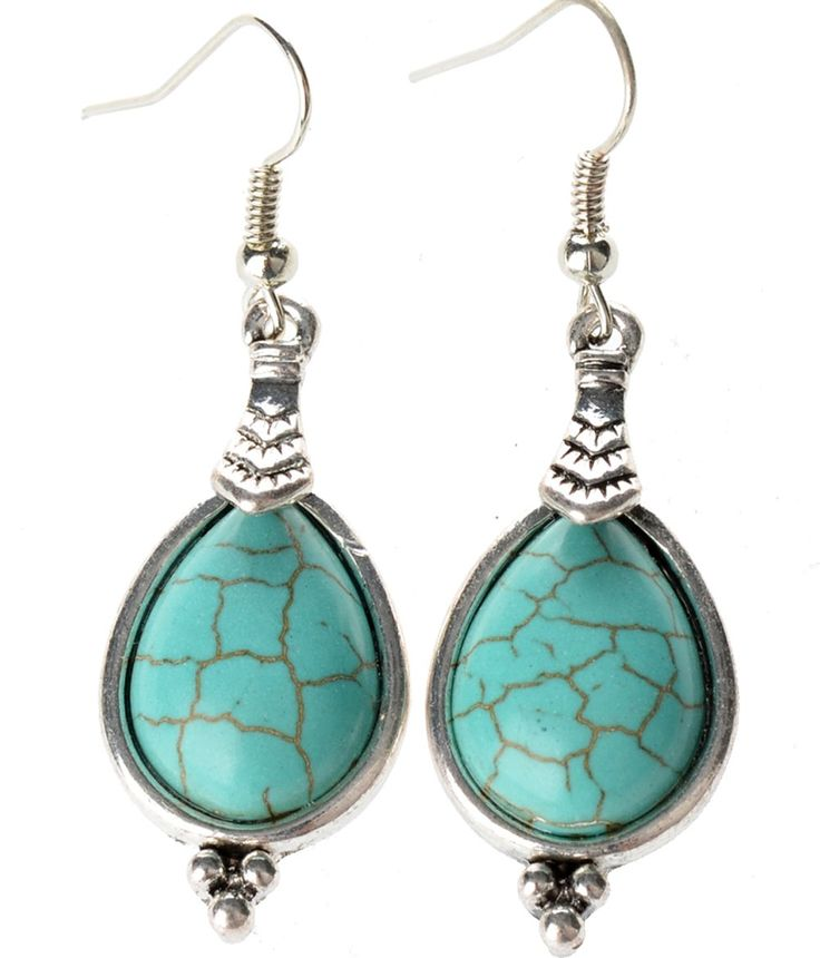 Tagoo Sliver Alloy Tear Turquoise Retro Style Earrings Green:
