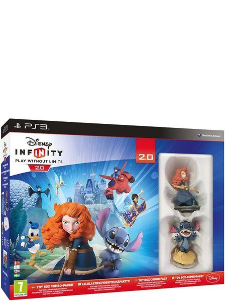 Disney Infinity 2.0 Toy Box Combo PS3. Disney Infinity on interaktiivinen pelialusta, jossa voit luoda vapaasti omia tarinoitasi ja pääset pelaamaan joillain suosikkihahmoillasi aivan uudella tavalla. Kun asetat Disney Infinity –hahmon pelialustalle, hahmo herää henkiin pelissäsi. Mitä enemmän pelaat, sitä enemmän hahmoja, rakennuksia ja vempaimia avautuu seikkailujasi varten.