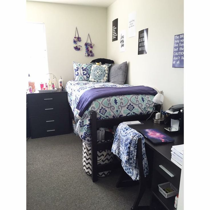 West Chester University dorm room 2015/2016. Blue, white grey, and purple inspired. College dorm room.